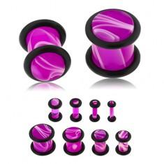 Plug do ucha z akrylu fialovej farby, biely mramorový vzor, dve gumičky