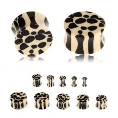 Akrylový sedlový plug do ucha, béžovo-čierny leopardí vzor