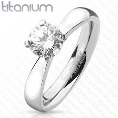 Zásnubný prsteň z titánu, strieborná farba, okrúhly číry zirkón, lesklé ramená