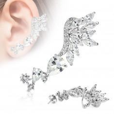 Šperky eshop - Náušnica na jedno ucho, chirurgická oceľ striebornej farby, číre zirkóny S53.10 - Tvar: Ľavý