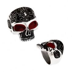 Masívny prsteň z ocele 316L, patinovaná lebka, bodky, červené glazúrované oči