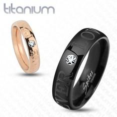 Titánová obrúčka medenej farby, nápis FOREVER LOVE, číry zirkón, 4 mm