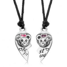 BEST FRIENDS šnúrkové náhrdelníky, rozpolené srdce, mackovia