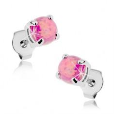 Náušnice z ocele 316L, okrúhly syntetický opál ružovej farby, puzetky, 5 mm