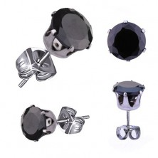 Lesklé oceľové náušnice, okrúhly zirkón v čiernej farbe, 9 mm