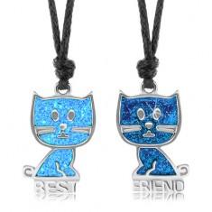 Šnúrkové náhrdelníky, modré mačičky, glazúra, nápis BEST FRIEND