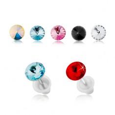 Oceľové náušnice striebornej farby, puzetky, okrúhly farebný zirkónik, 5 mm