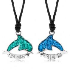 Dva šnúrkové náhrdelníky, zelený a modrý delfín, glazúra, BEST FRIEND