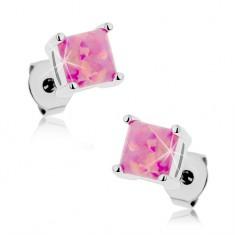 Oceľové náušnice, štvorcový syntetický opál ružovej farby, 5 mm