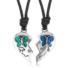 Set náhrdelníkov pre priateľov, polovice srdca, farebné motýle, Best Friend