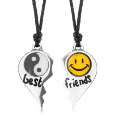 Šnúrkové náhrdelníky, rozpolené srdce, Jin a Jang, žltý smajlík, nápis best friends