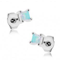 Oceľové náušnice, modrý dúhový štvorček zo syntetického opálu, 3 mm