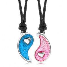 Šnúrkové náhrdelníky, rozdelený symbol Jin a Jang, modrá a ružová glazúra