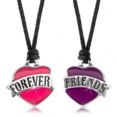 Dva šnúrkové náhrdelníky, ružové a fialové srdiečko, nápis FOREVER FRIENDS