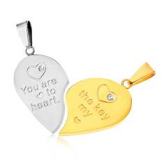 Dva prívesky z ocele 316L pre pár, strieborná a zlatá farba, srdce, nápis, zirkóny