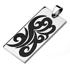 Obdĺžniková známka z ocele 316L, strieborný odtieň, čierny ornament - špirály