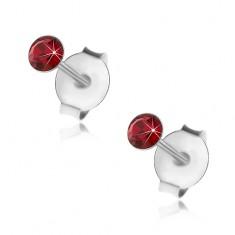 Šperky eshop - Strieborné 925 náušnice, okrúhly tmavočervený krištálik Swarovski, 3 mm I29.14