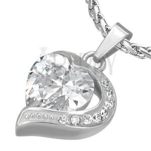 Prívesok z ocele zirkónové srdce s polovicou srdca