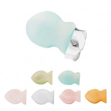 Strieborné 925 náušnice, farebné perleťové rybičky, hladký plochý povrch