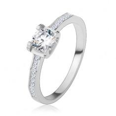 Šperky eshop - Strieborný 925 prsteň, lesklé ramená, okrúhly brúsený zirkón S60.12 - Veľkosť: 49 mm