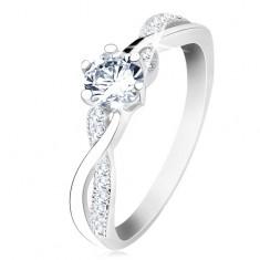 Šperky eshop - Strieborný prsteň 925, zvlnené prepletené ramená, číry zirkón S61.04 - Veľkosť: 49 mm