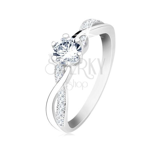 Strieborný prsteň 925, zvlnené prepletené ramená, číry zirkón