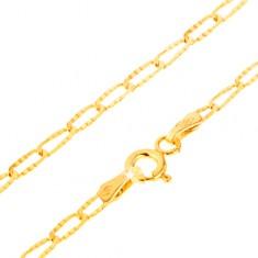 553350ae2 Šperky eshop - Zlatý náramok 585 - tenké podlhovasté očká, ozdobné  ryhovanie, 195 mm