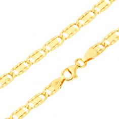 Náramok zo žltého 14K zlata - väčšie ploché články, ryhy, obdĺžnik, 195 mm