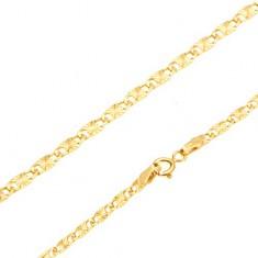 Náramok v žltom 14K zlate - ploché podlhovasté články, lúčovité ryhy, 195 mm
