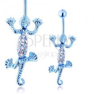 Oceľový piercing do pupka, pohyblivá modrá jašterička, číre zirkóniky
