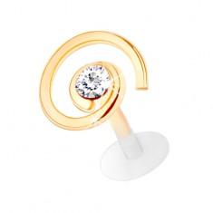 Zlatý piercing 585 do brady a pery - lesklá špirála so zirkónom čírej farby
