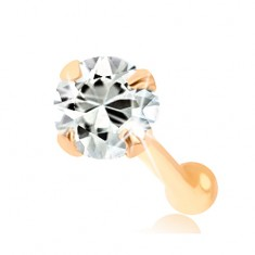 Zlatý piercing do nosa 375, rovný - číry okrúhly zirkónik, 2 mm
