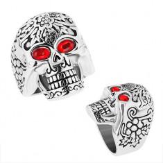 Masívny oceľový prsteň, patinovaná lebka s červenými očami