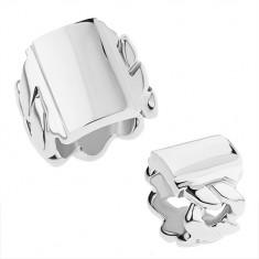 Mohutný prsteň z chirurgickej ocele s motívom reťaze, lesklý obdĺžnik