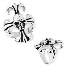 Masívny prsteň z ocele 316L, strieborná farba, ľaliový kríž s lebkou