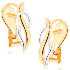 Šperky eshop - Zlaté náušnice 375 - lesklé zvislé vlnky zo žltého a bieleho zlata GG57.07