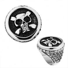 Oceľový prsteň v striebornom odtieni, kruh, patinovaná lebka, srdcia, bodky