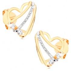 Šperky eshop - Náušnice v 9K zlate - srdcová kontúra so šikmými líniami a  čírymi zirkónikmi GG57.15 454cc19480b