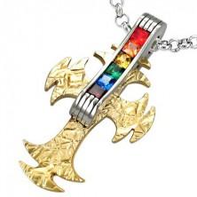 Prívesok z ocele kríž s farebnými kamienkami