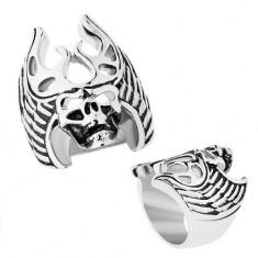 Oceľový prsteň striebornej farby, čierna patina, lebka - parohy, krídla