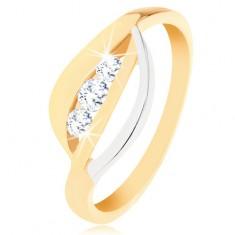 Šperky eshop - Zlatý prsteň 375 - dvojfarebné zvlnené línie, tri okrúhle zirkóny čírej farby GG56.01/40/28/30/177.02 - Veľkosť: 49 mm