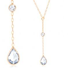 3db15d80d Šperky eshop - Zlatý náhrdelník 375, retiazka z oválnych očiek, visiaca  číra zirkónová slza