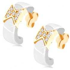 Zlaté náušnice 375 - keramické polkruhy bielej farby, trblietavá mašlička