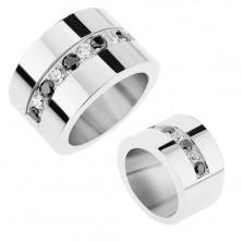 Zrkadlovolesklý prsteň z ocele 316L, striedajúce sa číre a čierne ligotavé zirkóny