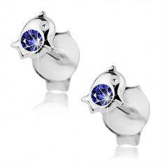 Šperky eshop - Strieborné 925 náušnice, malý delfín zdobený okrúhlym krištáľom modrej farby I36.23