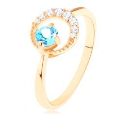 Zlatý prsteň 585 - kosák mesiaca zdobený čírymi zirkónikmi, modrý topás