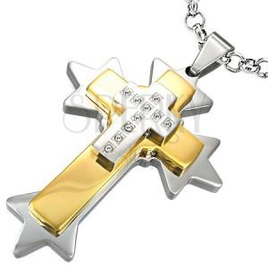 Oceľový prívesok ostnatý dvojfarebný kríž
