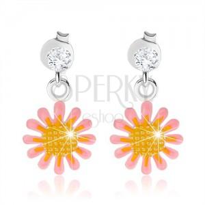 07f8492b8 Náušnice zo striebra 925, ružovo-žltý kvet, lesklá glazúra | Šperky ...