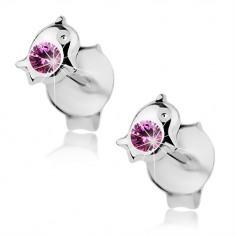 Šperky eshop - Puzetové náušnice, striebro 925, malý delfínik, ružový Swarovski krištáľ I38.17