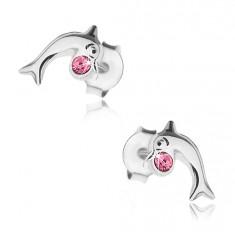 Šperky eshop - Strieborné 925 náušnice, lesklý skáčuci delfín s ružovým krištálikom Swarovski I40.16